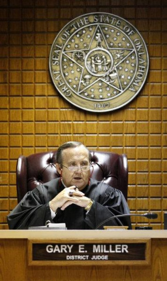 Canadian County istrict Judge Gary E. Miller presides over a hearing Monday for murder defendant Joshua Steven Durcho.  <strong>PAUL B. SOUTHERLAND - PAUL B. SOUTHERLAND</strong>