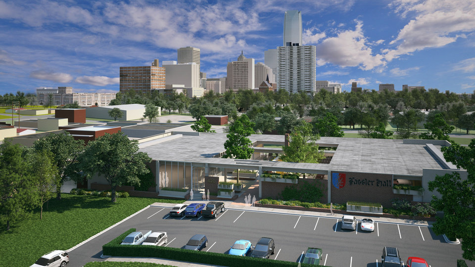 Fassler Hall and Dust Bowl, shown in this rendering, will include ample outdoor beer gardens and patios, with an open view of the downtown Oklahoma City skyline. <strong>Skyline Ink/Fitzsimmons Architecture</strong>