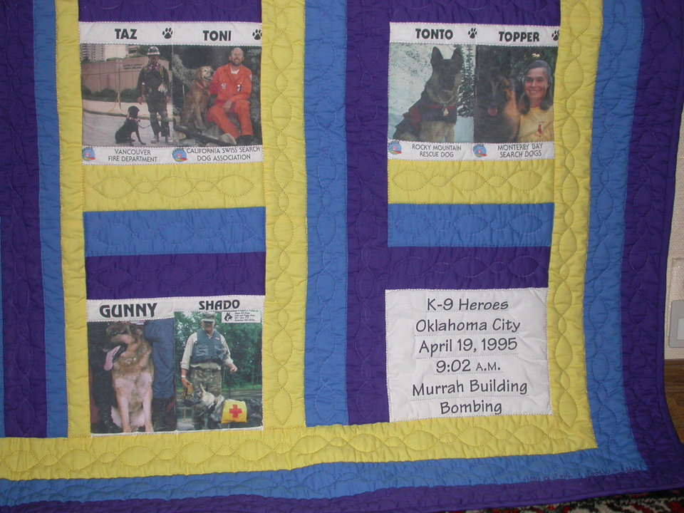 Davenport native Arlene Todd's Murrah Memorial Quilt of the K9 Heroes<br/><b>Community Photo By:</b> Judy Howard<br/><b>Submitted By:</b> Judy,