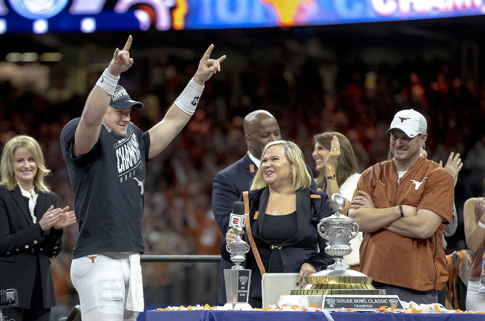 Photo -  Texas quarterback Sam Ehlinger proclaimed that the Longhorns are back after their 28-21 victory over Georgia, but the way Texas won the Sugar Bowl sent an even stronger message to the college football world. [PHOTO BY NICK WAGNER, AUSTIN AMERICAN-STATESMAN VIA AP]
