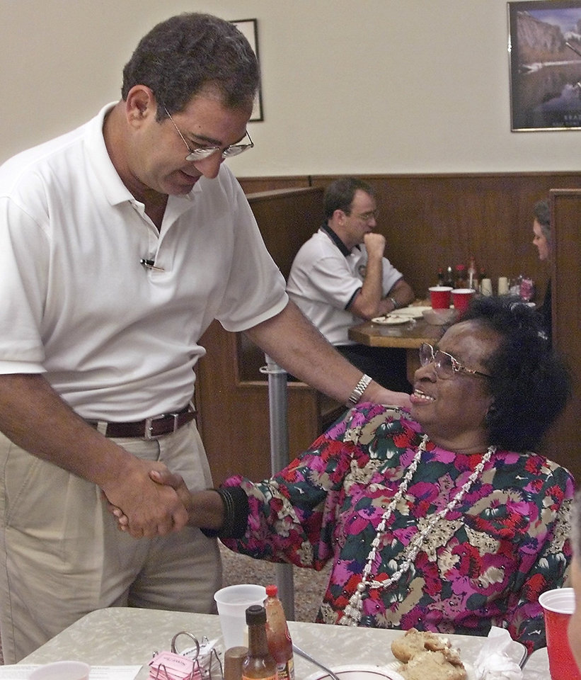 Photo - Original OKC sit in participants for August 19. Clara Luper is greated by long time admirer Mickey Homsey.