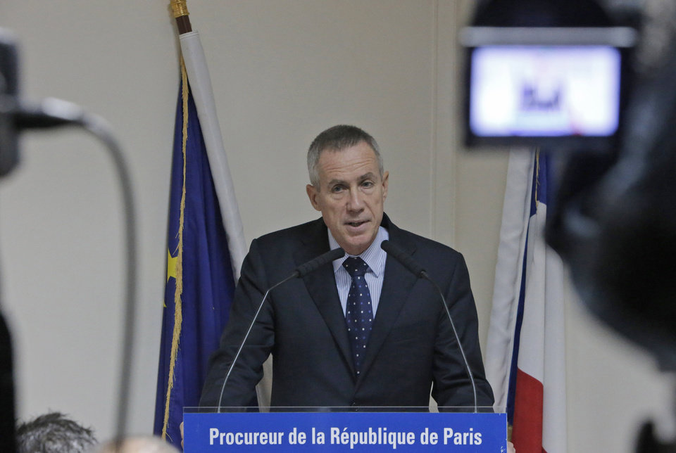 Photo -   French State prosecutor Francois Molins delivers his speech during a press conference at the Court in Paris, Wednesday, Oct. 10, 2012 after French police who broke up a suspected terrorist cell discovered bomb-making material in an enclosed parking lot in the lot in the town of Torcy, east of Paris. (AP Photo/Francois Mori)