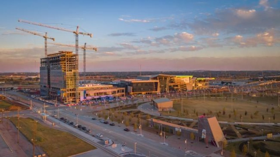 Photo -  The MAPS 3 initiatives included construction of Scissortail Park and the Oklahoma City Convention Center as shown in this recent drone photo. The 17-story Omni Hotel is seen to the left of the convention Center. [Dave Morris/The Oklahoman]