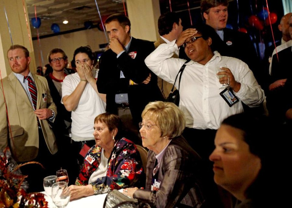 Photo -  Supporters react as they watch results  during a Democratic  watch party in Oklahoma City on Tuesday, Nov. 2, 2010. Photo by Bryan Terry, The Oklahoman ORG XMIT: KOD