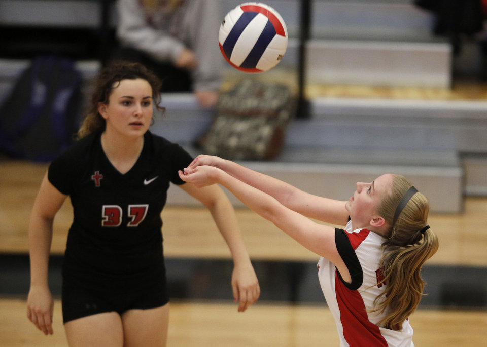 Bishop Kelley's Jessie Schooley (26) hits a ball during the OSSAA 6A State Volleyball Championship between Bishop Kelley and Edmond Memorial at Westmoore High School in Moore, Okla., Saturday, Oct. 13, 2012.  Photo by Garett Fisbeck, The Oklahoman