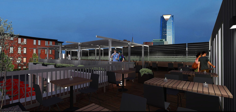 Photo -  The future view from the rooftop deck of The Collective is shown in this drawing. [Image provided]