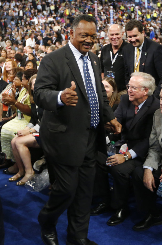 Photo - Rev. Jesse Jackson is seen as he arrives at the Democratic National Convention in Charlotte, N.C., on Tuesday, Sept. 4, 2012. (AP Photo/Jae C. Hong)  ORG XMIT: DNC778