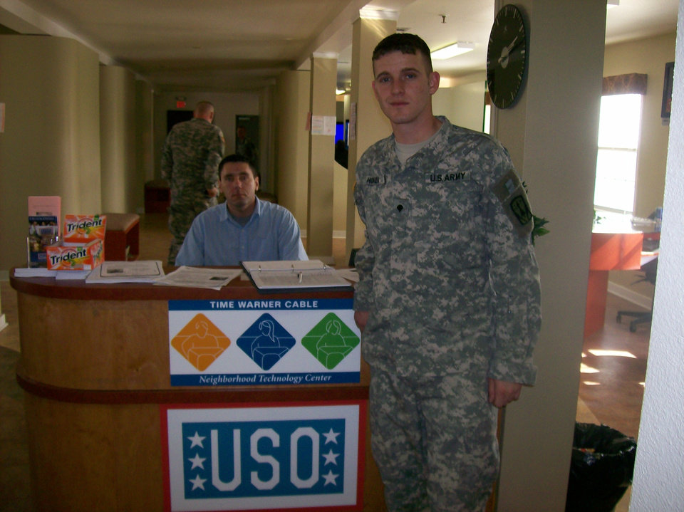 Specialist Travis Honea, U. S. Army, is pictured here at the Ft. Hood USO head-quarters in Texas, where he is currently stationed after serving one year in Korea.  Specialist Honea is a former member of Camp Fire USA, and from 1998-2001 he was one of the top candy sellers in the Heart of Oklahoma Council.<br/><b>Community Photo By:</b> Robin Crouse, Ft Hood USO<br/><b>Submitted By:</b> Keri, Oklahoma City
