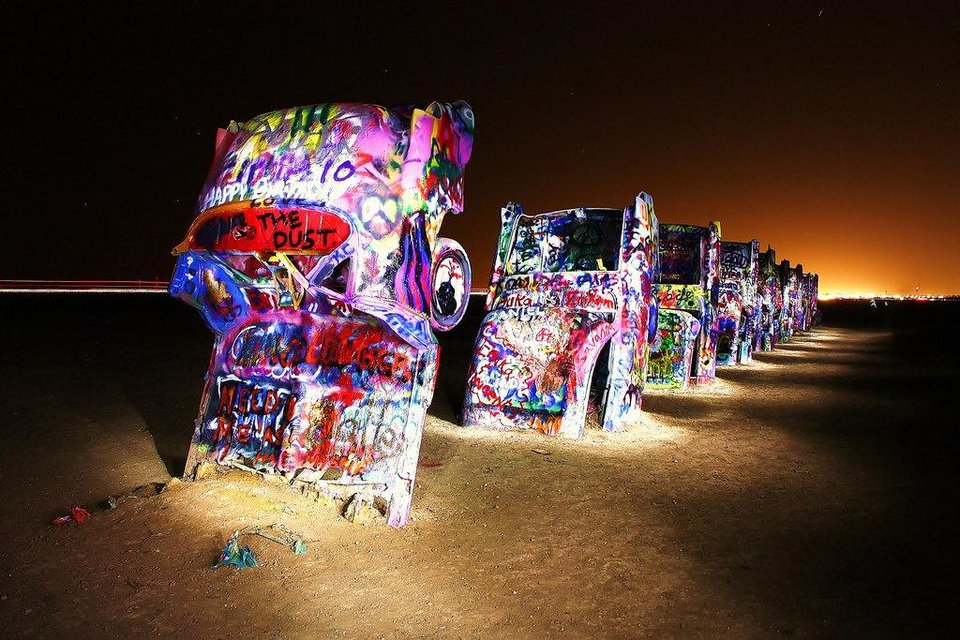 Then there's this: The Cadillac Ranch, also known as the only redeeming thing about Amarillo, Texas.