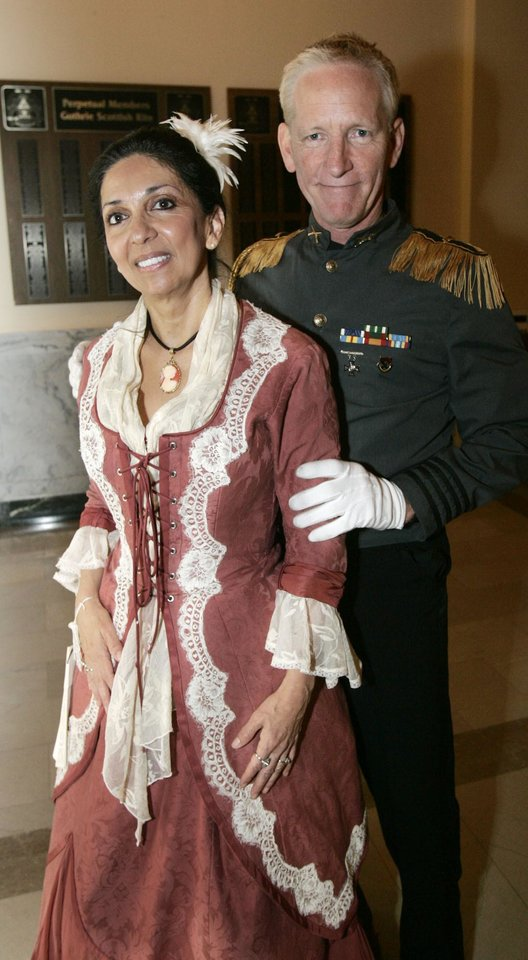 Photo - Jackie Short of Nichols Hills is shown with Rusty Aldridge at the Oklahoma Centennial Statehood Inaugural Ball, Saturday, Nov. 17, 2007, at the Guthrie Scottish Rite Masonic Center, in Guthrie, Okla. By Bill Waugh, The Oklahoman