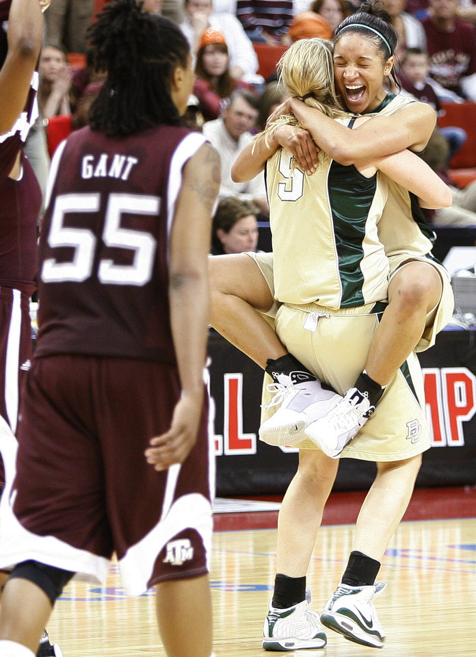 Photo - Baylor's Jessica Morrow, facing camera, celebrates with Melissa Jones after winning the championship game of the Big 12 Women's Basketball Championship between Baylor and Texas A&M at the Cox center in Oklahoma City, Sunday, March 15, 2009. PHOTO BY BRYAN TERRY, THE OKLAHOMAN