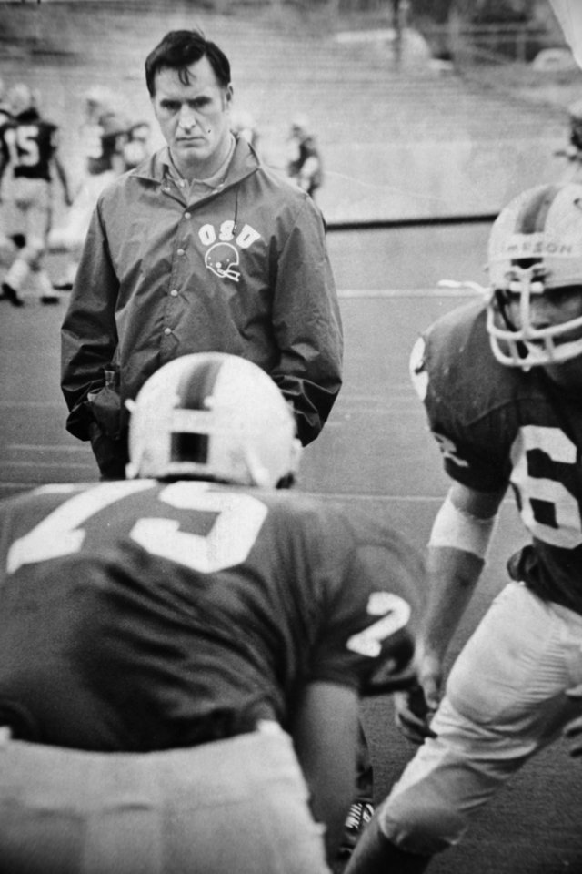 At practice Mar. 30, 1973: Oklahoma State University (OSU) football coach Jim Stanley