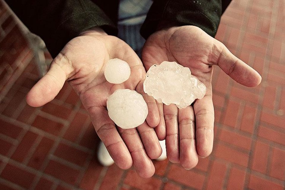 Photo - Carl Zoch's brother Thomas Zoch picked these hailstones off of Route 66 in Yukon.