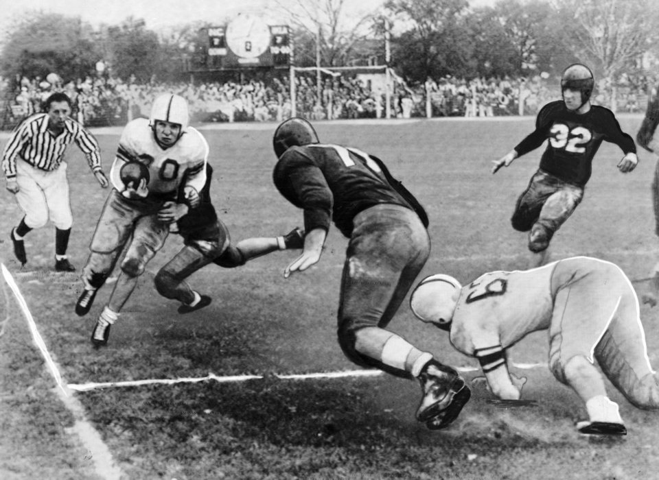 Charles Sarratt was one of several University of Oklahoma backs who performed brilliantly in the (second annual) Gator Bowl in 1947 as Coach Jim Tatum's Sooners swept aside North Carolina State, 34-13.  Sarratt electrified the 17,000 fans at Jacksonville, Fla., with many end sweeps, such as above, where he is wheeling up the sideline in the second quarter for a five-yard gain. OKLAHOMAN ARCHIVE PHOTO