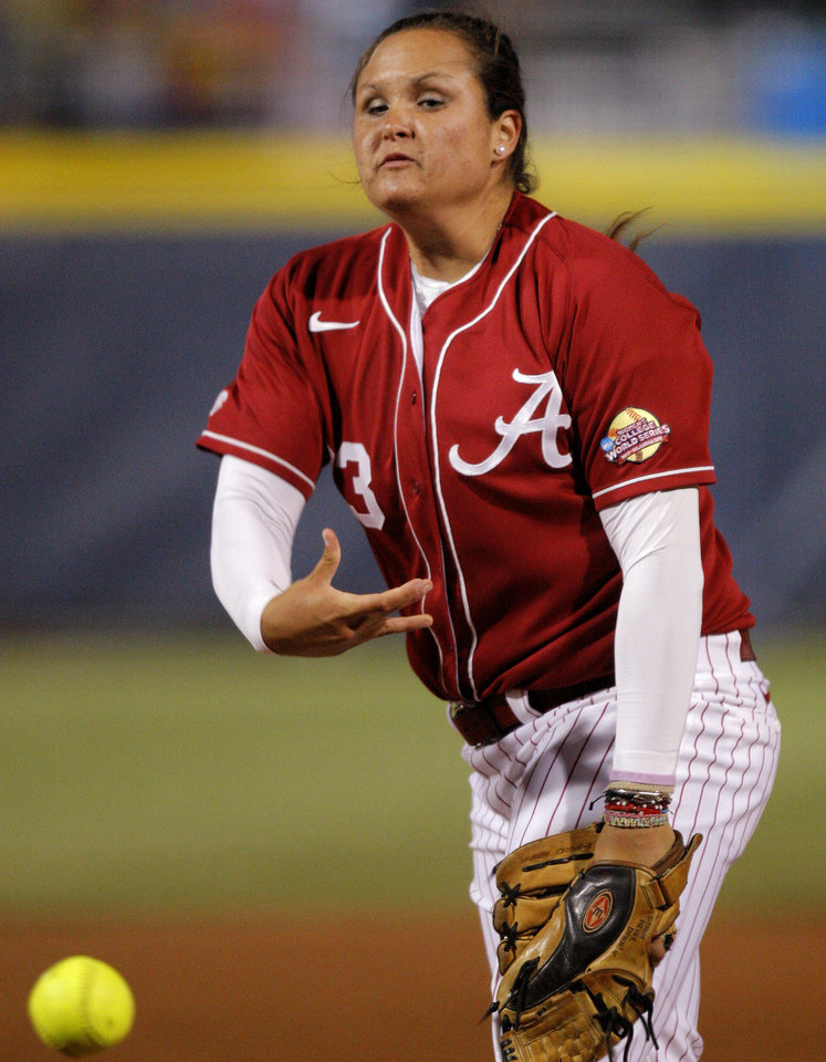 Alabama's Jackie Traina pitches against  Arizona State during a Women's College World Series game at ASA Hall of Fame Stadium in Oklahoma City, Friday, June 1, 2012.  Photo by Bryan Terry, The Oklahoman