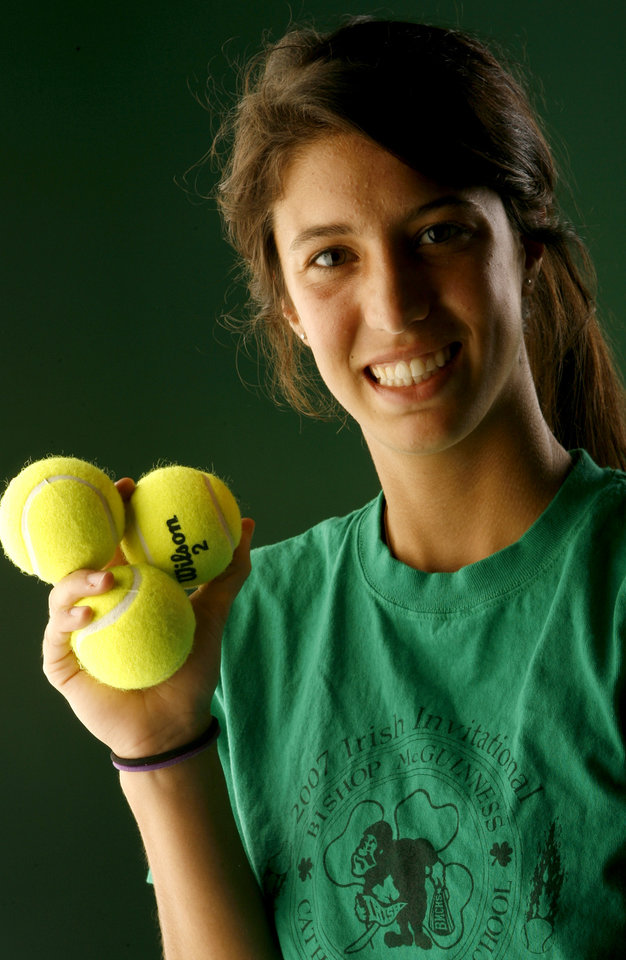 Photo - ALL-CITY, GIRLS TENNIS: Katelyn Connelly of Bishop McGuinness High School on Tuesday, May 22, 2007.  By Bryan Terry, The Oklahoman ORG XMIT: KOD