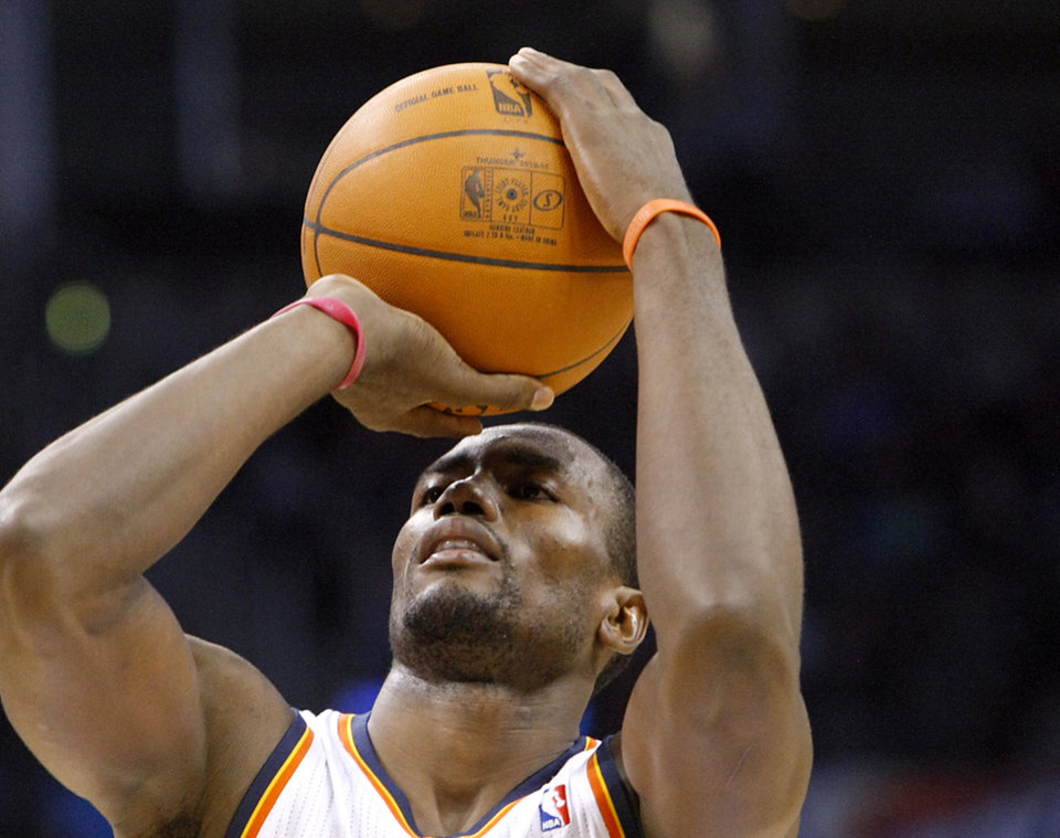 Oklahoma City\'s Serge Ibaka shoots a free throw against Houston during their NBA basketball game at the OKC Arena in downtown Oklahoma City on Wednesday, Nov. 17, 2010. Photo by John Clanton, The Oklahoman