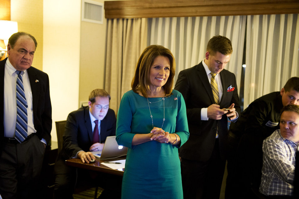 Photo -   Rep. Michele Bachmann watches election results at the Republican Party of Minnesota Election Night Party, Tuesday, Nov. 6, 2012, at the Hilton Minneapolis Bloomington in Bloomington, Minn. (AP Photo/The Star Tribune, Glen Stubbe) MANDATORY CREDIT; ST. PAUL PIONEER PRESS OUT; MAGS OUT; TWIN CITIES TV OUT