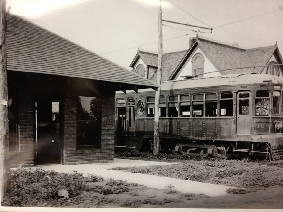 A trolley car is stopped at the interurban station in Edmond, in this undated photo from the University of Central Oklahoma archives. PHOTO PROVIDED BY BARRY RICE