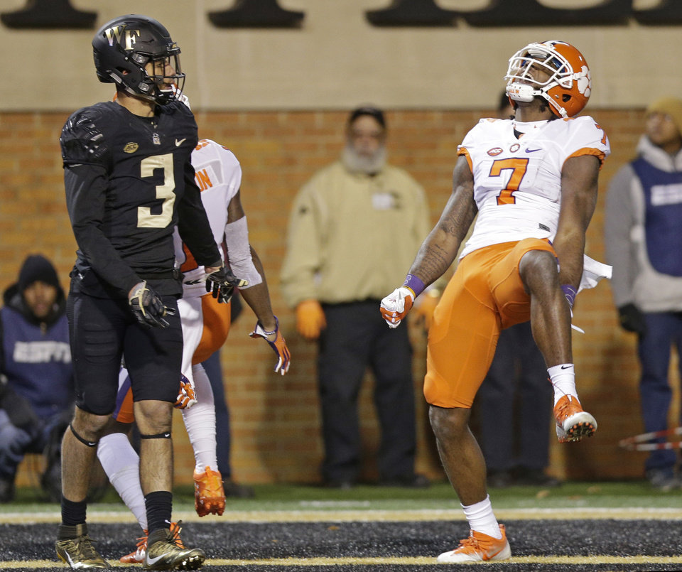 Clemson's Mike Williams (7) celebrates his touchdown as Wake Forest's ...