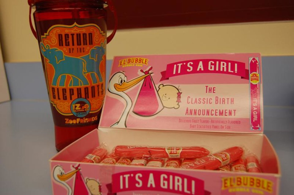 Photo - Pink bubblegum cigars for the Zoo Elephant Care Team to celebrate the first elephant birth in the Oklahoma City Zoo's history. Photo by Tara Henson