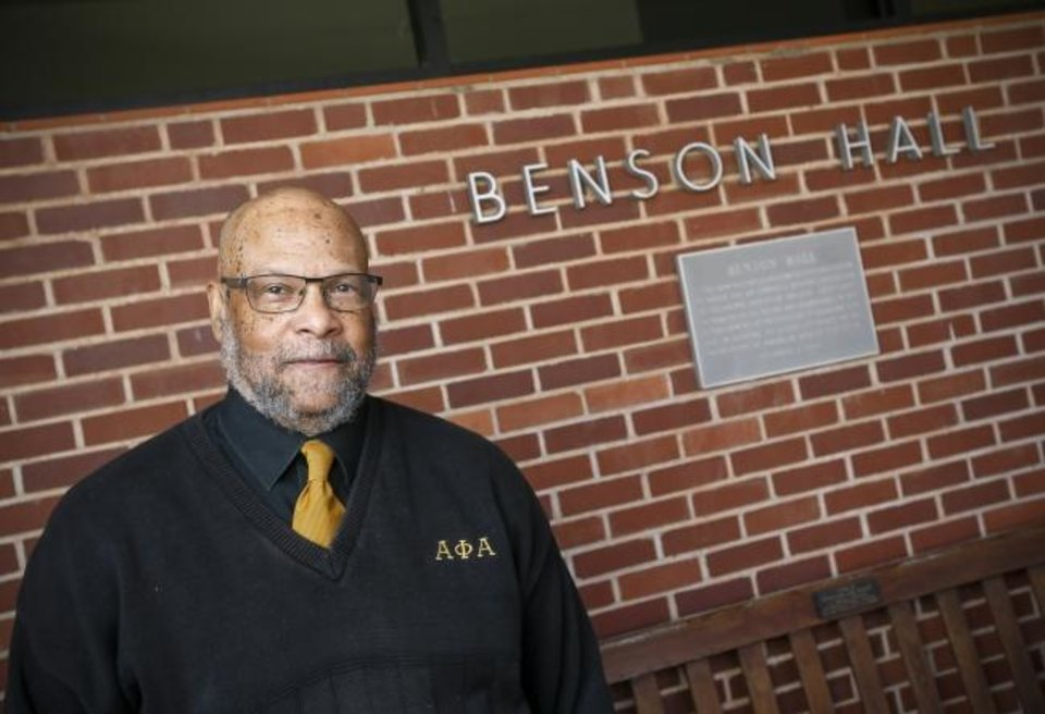 Photo - Robert Edison stands outside of Benson Hall at Oklahoma Christian University in Oklahoma City, Thursday, Dec. 12, 2019. Edison, one of 18 black students expelled from the university in 1969 after a sit-in at Benson Hall, has returned to the school as a visiting professor of African American studies. [Nate Billings/The Oklahoman]