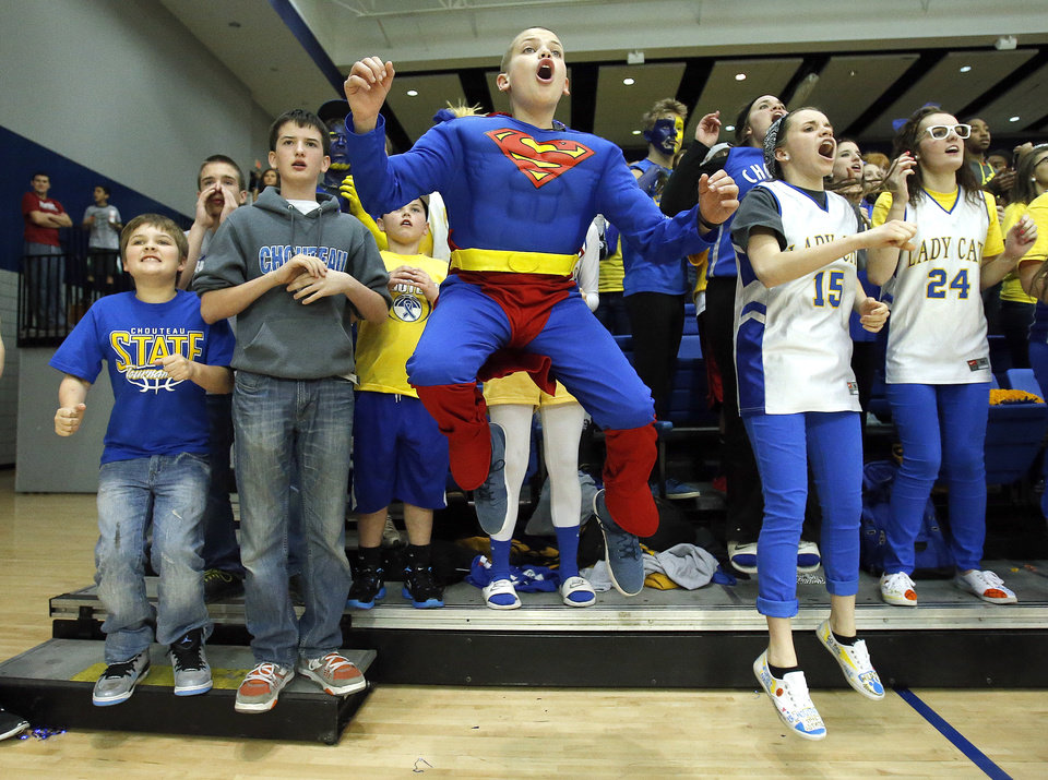 Champ Bridges cheers for Chouteau during the 2A boys high school basketball game in the semifinals of the state tournament between Latta and Chouteau at Oklahoma City University in Oklahoma City, Friday, March 8, 2013. Photo by Sarah Phipps, The Oklahoman
