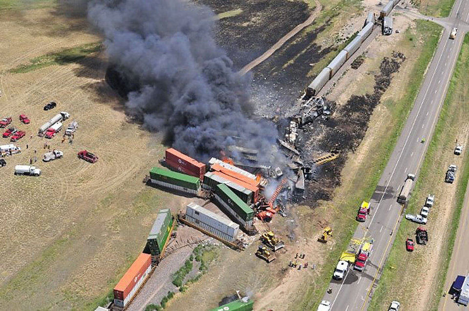 Photo - Aerial view of the site of a head on crash of two frieght trains near Goodwell Sunday that killed three people.The Guymon Daily Herald courtesy of Marit Edwards  Marit Edwards
