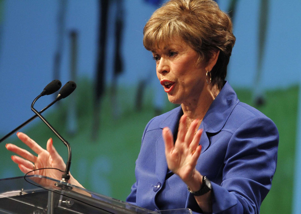 Photo - State Superintendent Sandy Garrett gives her final state of education speech at the Tulsa Convention center, taken in Tulsa, Okla., on July 22, 2010. The state Education Department used at least two undisclosed bank accounts as a slush fund for drinks, entertainment, travel and more at state education conferences, spending $2.3 million over the past 10 years, according to an investigative state audit released Wednesday. Photo by JAMES GIBBARD/Tulsa World