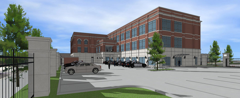 Architect drawings of Edmond's new public safety center to be building in downtown. DRAWING PROVIDED, CITY OF EDMOND