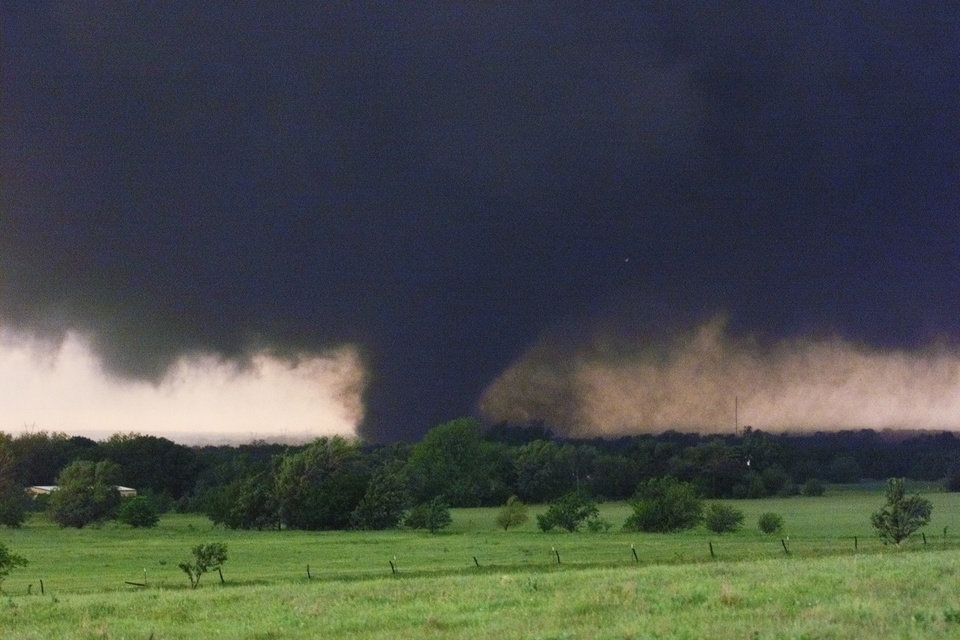 May 3, 1999, Oklahoma City Tornado:  The tornado which swept across SW OKC and Moore as seen at about May Ave. and SW 134th around 7:30 PM.  Staff photo by Paul Hellstern