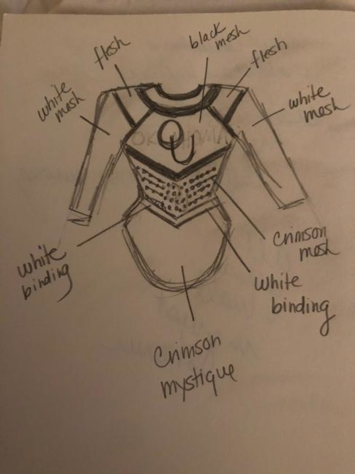 Photo -  OU women's gymnastic coach K.J. Kindler sketches out leotard designs that the Sooners will eventually wear. [PHOTO PROVIDED]