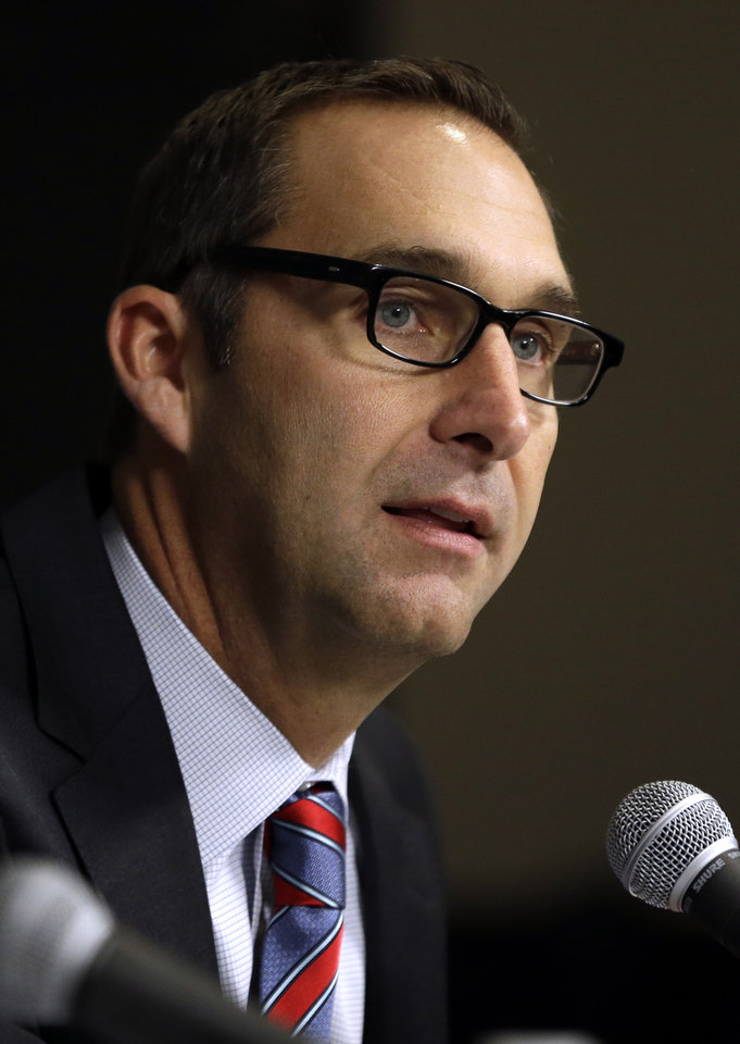 St. Louis Cardinals general manager John Mozeliak talks about the future of Cardinals pitcher Chris Carpenter during a baseball news conference Tuesday, Feb. 5, 2013, in St. Louis. The Cardinals have announced Carpenter will not pitch in the 2013 season and his future is uncertain due to a lingering injury. (AP Photo/Jeff Roberson)