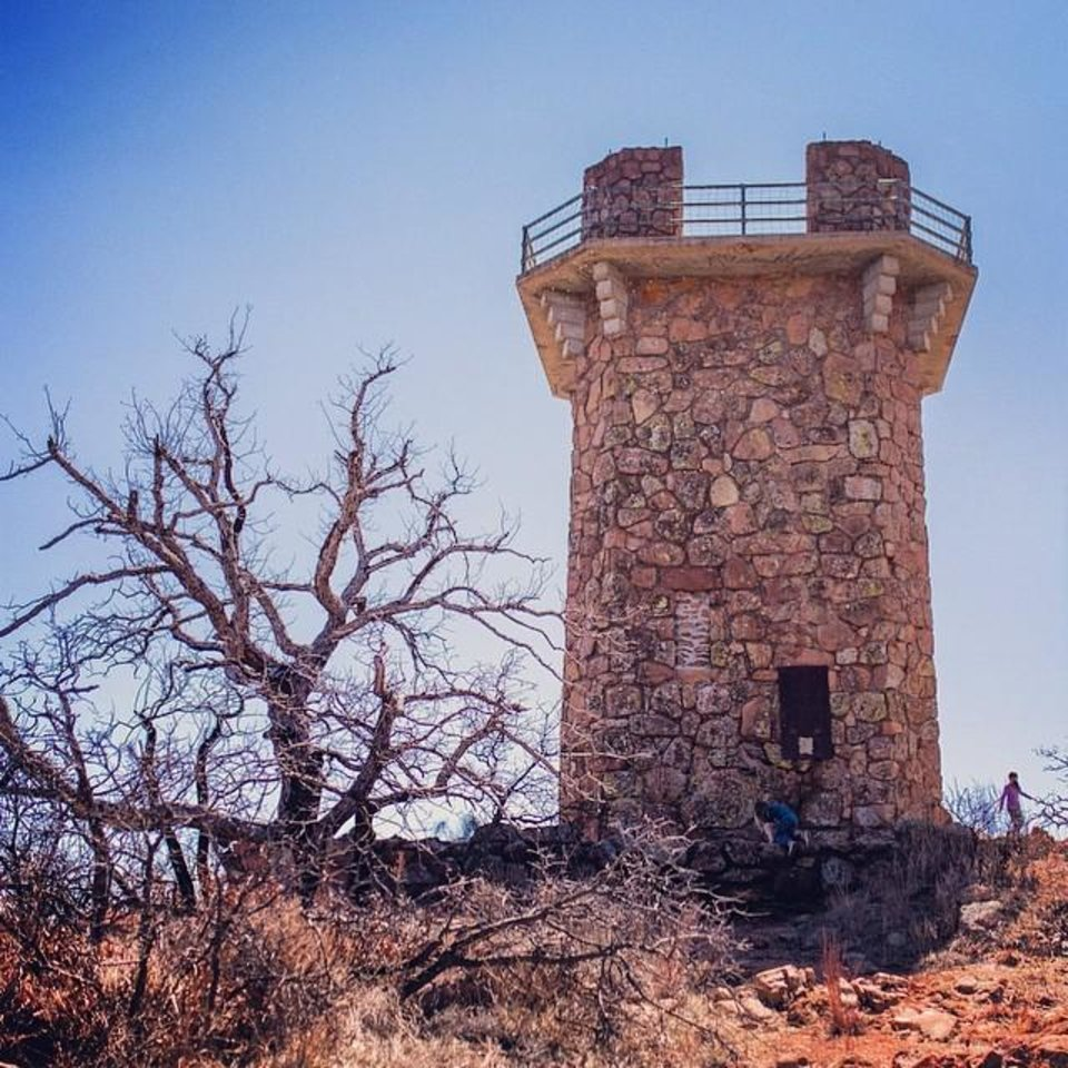 The Tower at Lake Jed Johnson in the Wichita Mountains Wildlife Refuge - Photo by Instagrammer @whatfoxknows