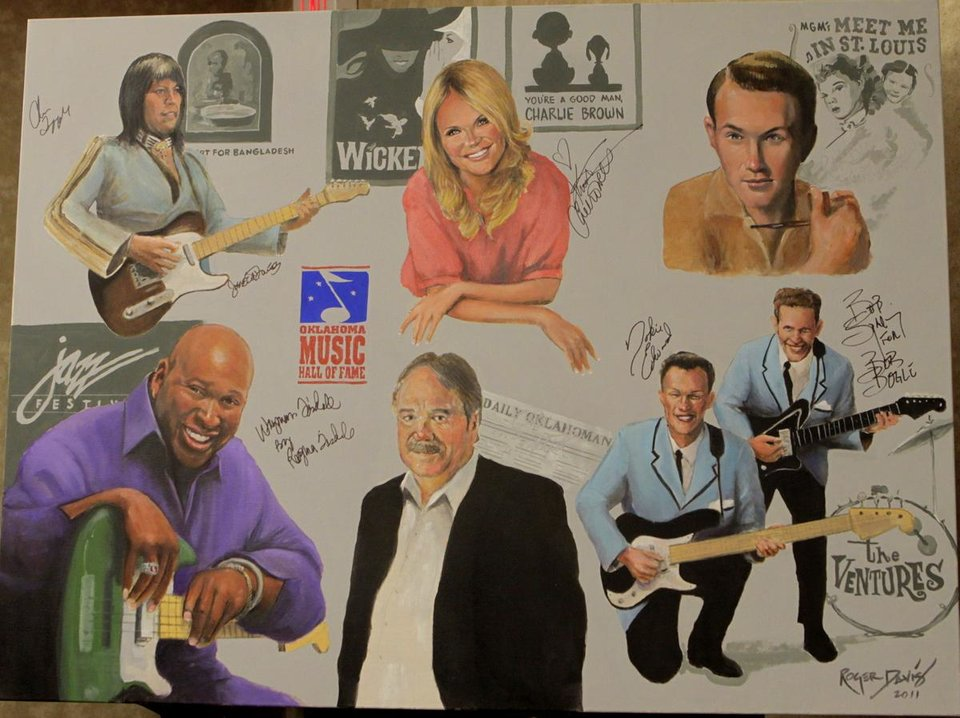 Portraits of the 2011 Oklahoma Music Hall of Fame inductees painted by Roger Davis. Davis is the official portrait artist for the Oklahoma Music Hall of Fame. Photo by Jay Spear