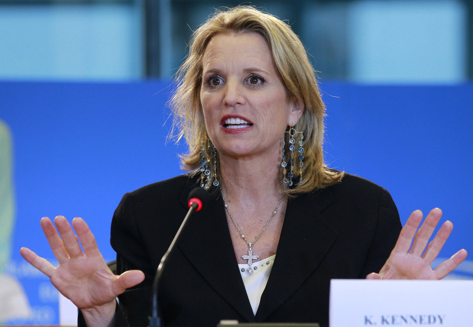 Photo - FILE - In this Feb. 19, 2014 file photo, Human rights activist and writer Kerry Kennedy from the U.S. addresses the media at the European Parliament building in Brussels. Jurors will hear Monday, Feb. 24, 2014, about Kennedy's morning routine and daily medications as they consider whether she's guilty of drugged driving. The case against Kennedy, daughter of the late Sen. Robert Kennedy and ex-wife of New York Gov. Andrew Cuomo, goes to trial Monday morning in suburban White Plains. In 2012, Kennedy was arrested after her car hit a tractor-trailer on an interstate highway near her home in the New York City suburbs. (AP Photo/Yves Logghe, File)