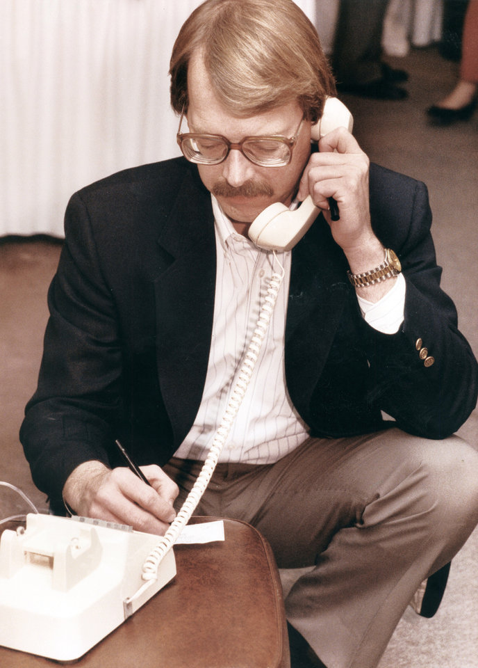 Dan Brown, chairman of STOP New Taxes, receives updated voting figures on State Question 640 on March 10, 1992. Photo by Jim Beckel,  The Oklahoman Archive