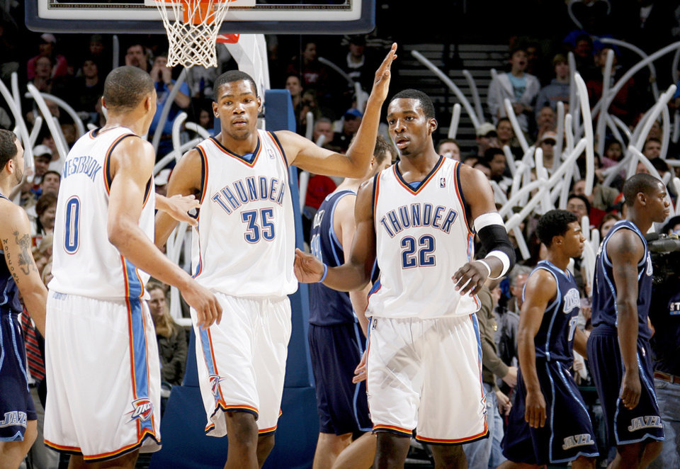 Oklahoma City's Kevin Durant, center, and Jeff Green, right, will play for the sophomore team and Russell Westbrook, left, will play for the rookie team in the annual Rookie-Sophomore Challenge at All-Star Weekend. Photo by bryan terry, the oklahoman