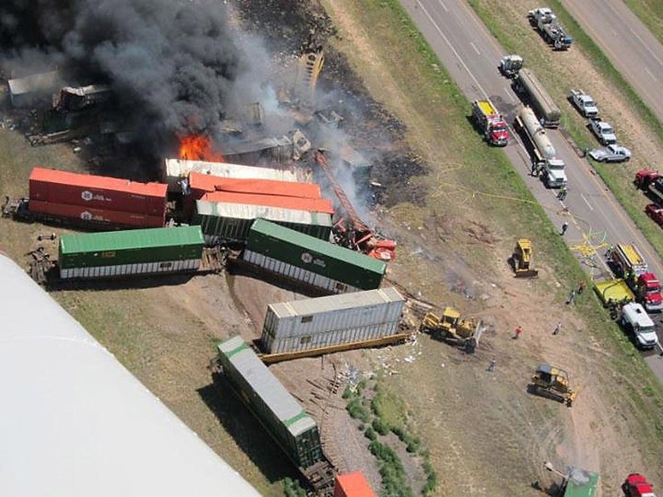 Photo - Aerial view of the site of a head on crash of two frieght trains near Goodwell Sunday that killed three people.The Guymon Daily Herald courtesy of Marit Edwards