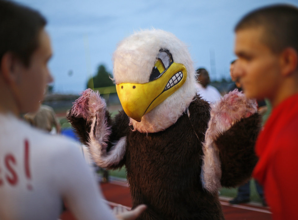 Photo - The Del City mascot stands on the field prior to a high school football game against Ardmore in Del City, Okla., Friday, September 28, 2012. Photo by Bryan Terry, The Oklahoman