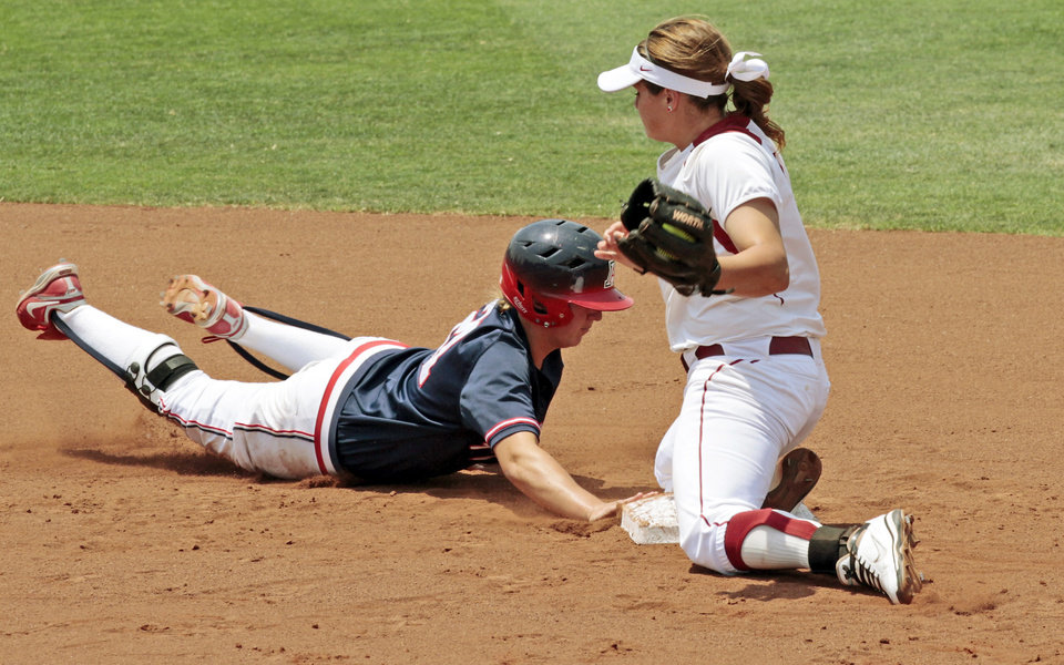 Photo - Wildcat Shelby Babcock makes it safely back to second before the tag from Sooner Georgia Casey as the University of Oklahoma (OU) softball team plays Arizona in a super regional matchup at Marita Hines Field at OU on Friday, May 25, 2012, in Norman, Okla.  Photo by Steve Sisney, The Oklahoman