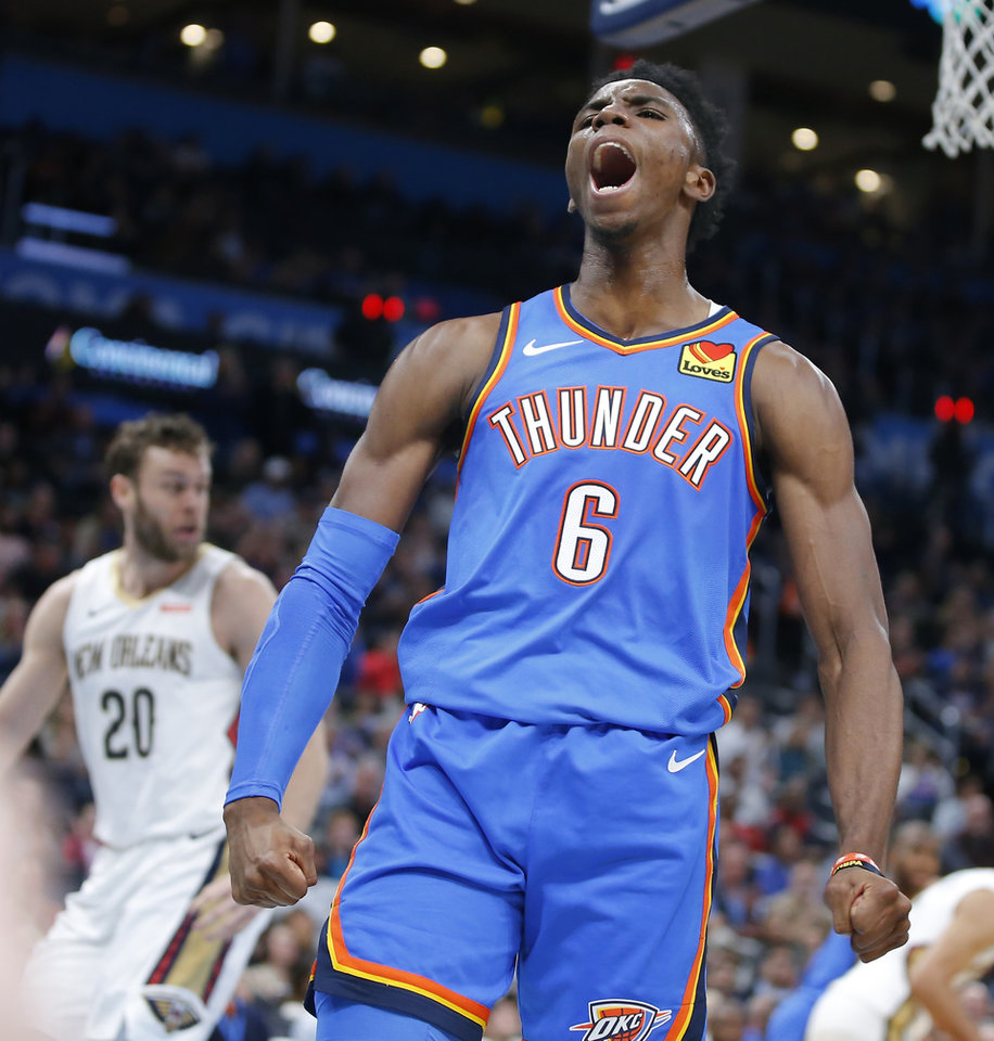 Photo - Oklahoma City's Hamidou Diallo (6) celebrates after a basket during an NBA basketball game between the Oklahoma City Thunder and the New Orleans Pelicans at Chesapeake Energy Arena in Oklahoma City, Saturday, Nov. 2, 2019. Oklahoma City won 115-104. [Bryan Terry/The Oklahoman]