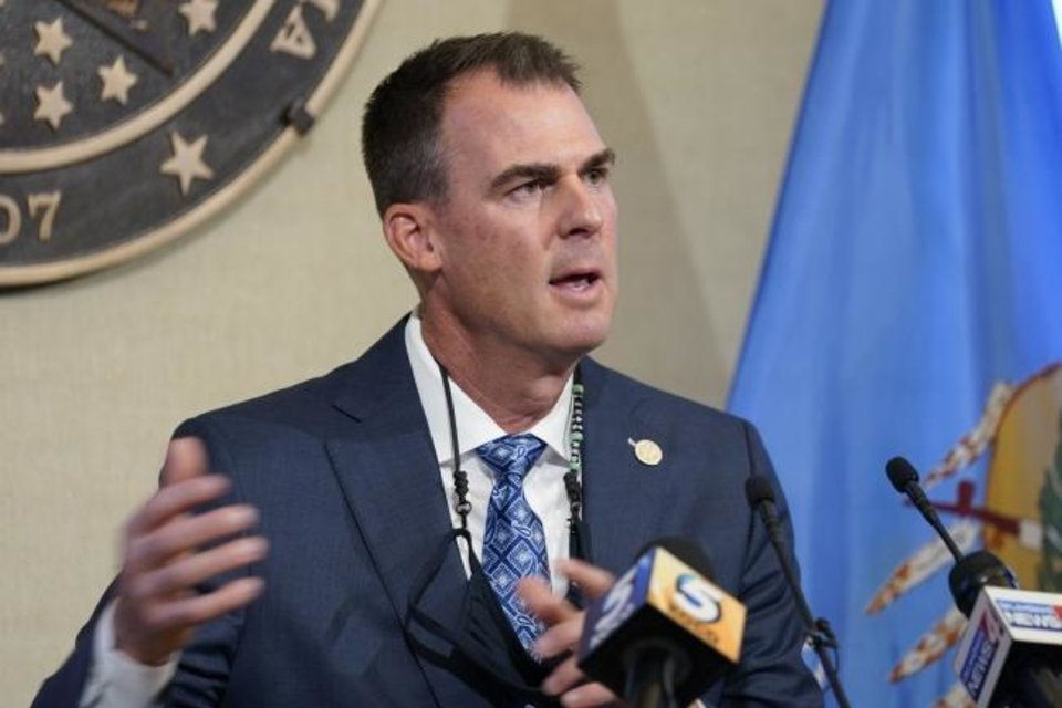 Photo -  Oklahoma Gov. Kevin Stitt speaks during a news conference Thursday, Sept. 17, 2020, in Oklahoma City. Stitt said again that he will not issue a statewide mask mandate, despite a recommendation from the White House Coronavirus Task Force. (AP Photo/Sue Ogrocki)