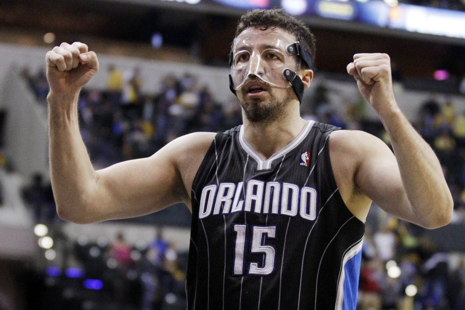 Orlando Magic forward Hedo Turkoglu celebrates in the closing seconds of the second half of an NBA first-round playoff basketball game against the Indiana Pacers in Indianapolis, Saturday, April 28, 2012. The Magic won 81-77. (AP Photo/Michael Conroy)