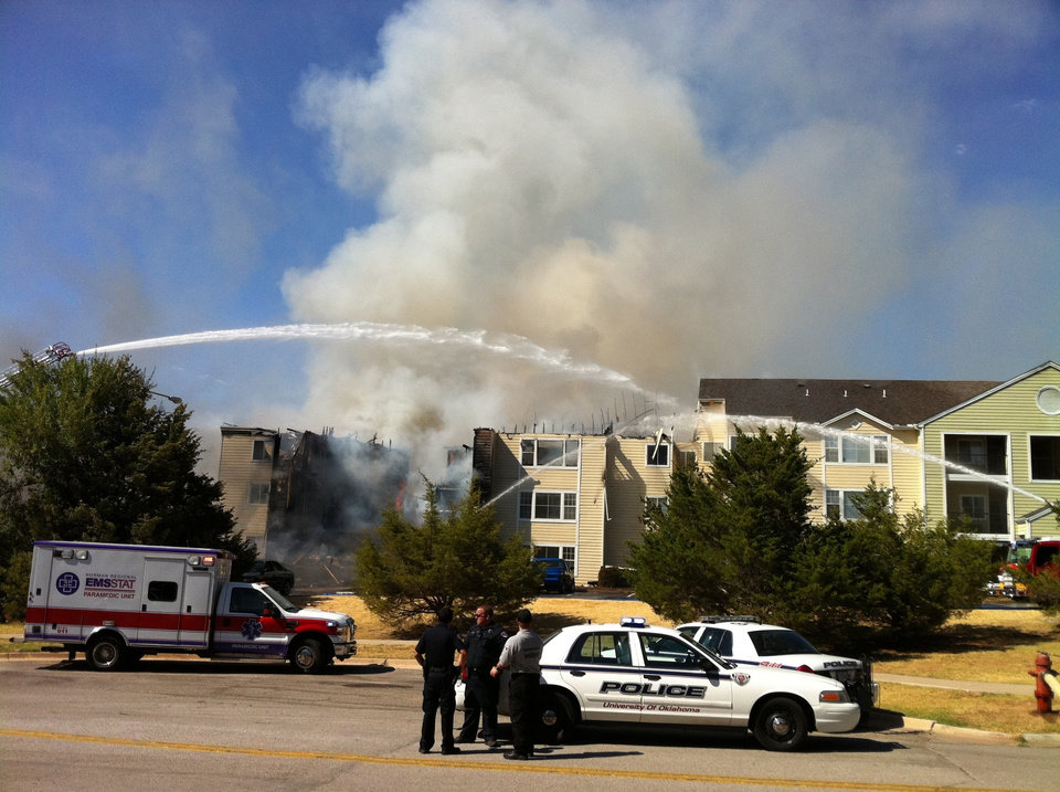 Oak Tree Ave. fire in Norman, at about 4:30 this afternoon