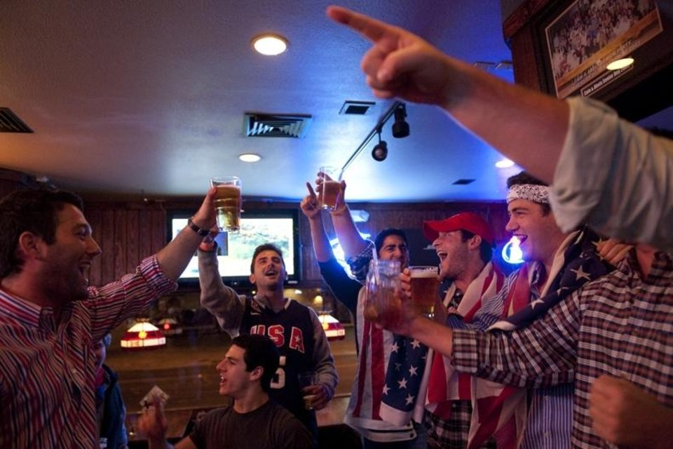 Photo - University of Texas at Austin students celebrate the news of Osama bin Laden