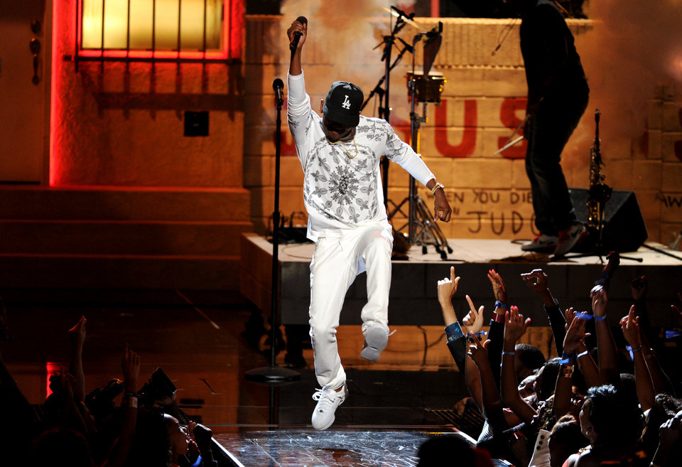 Kendrick Lamar performs onstage at the BET Awards at the Nokia Theatre on Sunday, June 30, 2013, in Los Angeles. (Photo by Frank Micelotta/Invision/AP)
