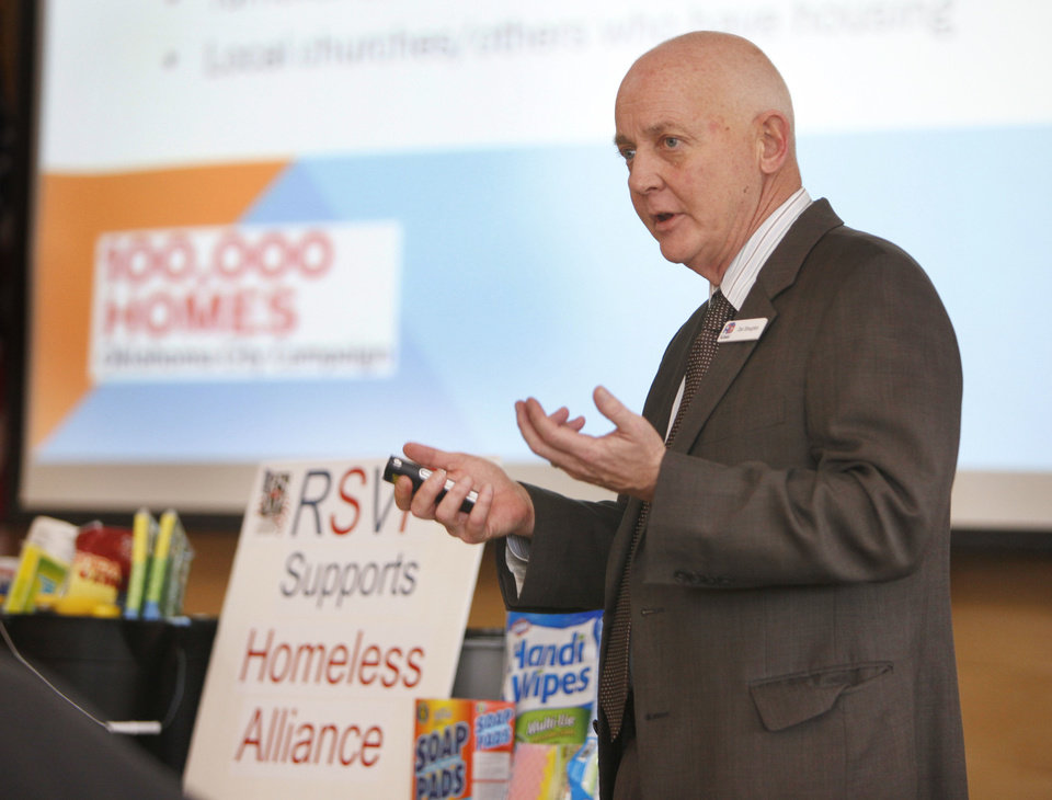 Photo - Dan Straughan, executive director of the Homeless Alliance, announces the results of a homelessness study in Oklahoma City, OK, Friday, January 25, 2013,  By Paul Hellstern, The Oklahoman  PAUL HELLSTERN - Oklahoman