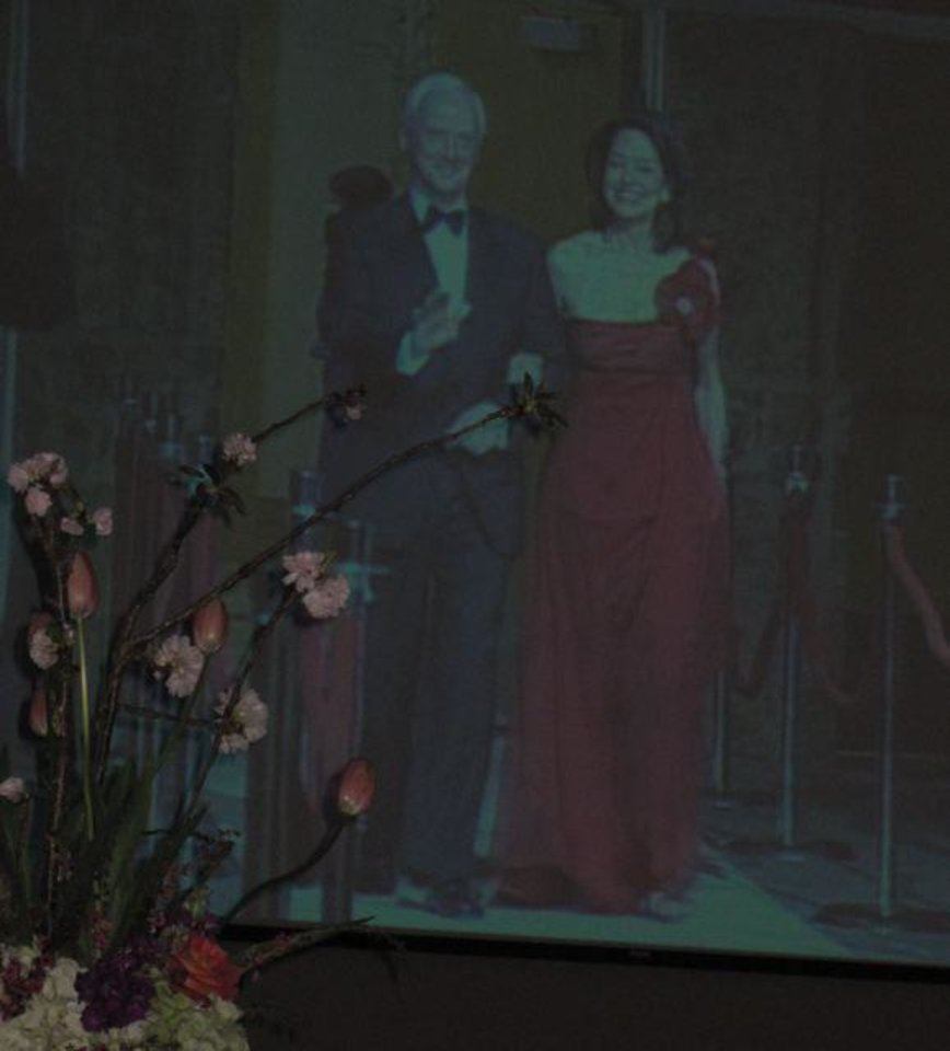 FIRST LADIES GALA....Big screen shot of the entrance of Frank and  Cathy Keating. (Photo by Helen Ford Wallace).