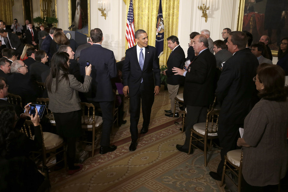 President Barack Obama leaves the East Room of the White House in Washington, Wednesday,Nov. 14, 2012, following his first post election day news conference. (AP Photo/Jacquelyn Martin)